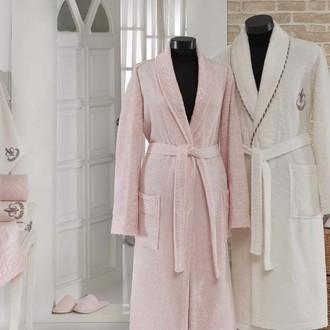 Набор халатов Gonca HAZAN кремовый-розовый