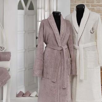 Набор халатов Gonca HAZAN кремовый-грязно-розовый