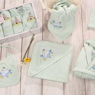 Набор для купания новорожденных Karna BABY CLUB хлопковая махра (светло-зелёный)