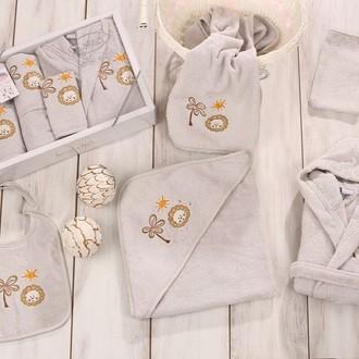 Набор для купания новорожденных Karna BABY CLUB хлопковая махра (стоне)