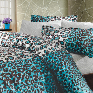 Постельное белье Hobby Home Collection ADRIANA хлопковый поплин синий 1,5 спальный
