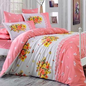 Постельное белье Hobby Home Collection ALVIS хлопковый поплин персиковый 1,5 спальный