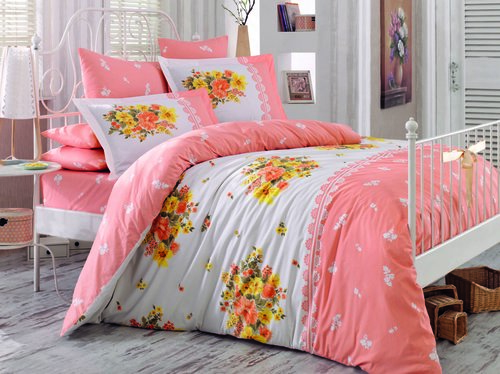 Постельное белье Hobby Home Collection ALVIS хлопковый поплин персиковый 1,5 спальный, фото, фотография