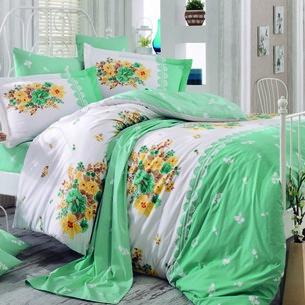Постельное белье Hobby Home Collection ALVIS хлопковый поплин зелёный 2-х спальный