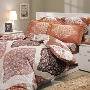 Постельное белье Hobby Home Collection AMANDA хлопковый поплин коричневый 2-х спальный