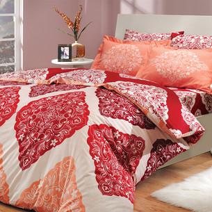 Постельное белье Hobby Home Collection AMANDA хлопковый поплин красный 1,5 спальный