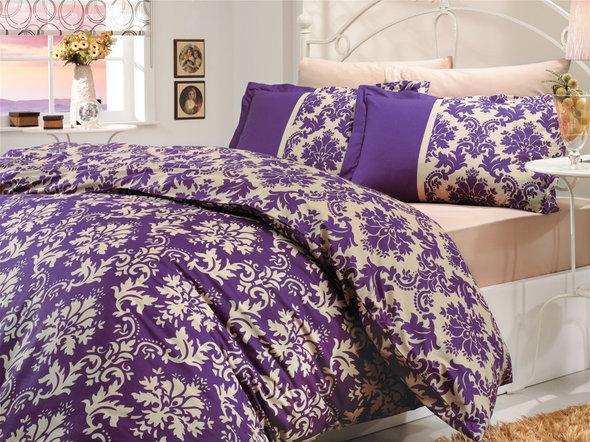 Постельное белье Hobby Home Collection AVANGARDE хлопковый поплин фиолетовый 1,5 спальный, фото, фотография