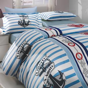 Постельное белье Hobby Home Collection BERMUDA хлопковый поплин синий 2-х спальный