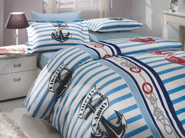 Комплект постельного белья Hobby BERMUDA поплин синий 1,5 спальный, фото, фотография