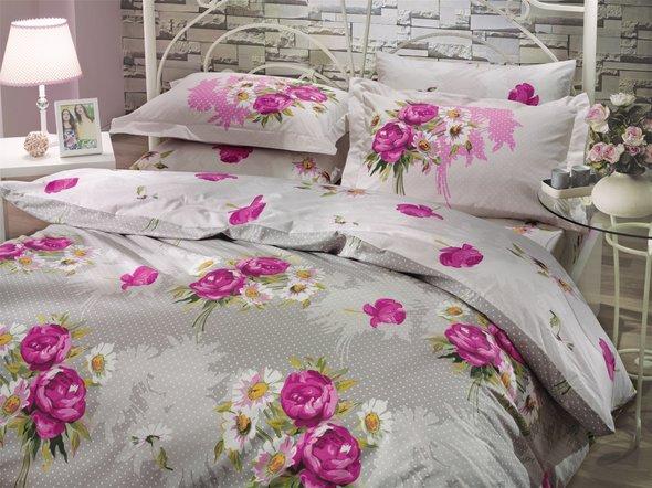 Комплект постельного белья Hobby CALVINA поплин светло-серый евро, фото, фотография