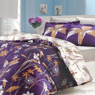 Постельное белье Hobby Home Collection CLARINDA хлопковый поплин фиолетовый 1,5 спальный