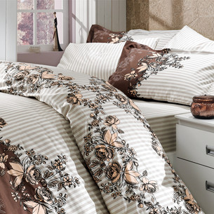 Постельное белье Hobby Home Collection DELFINA хлопковый поплин коричневый 1,5 спальный