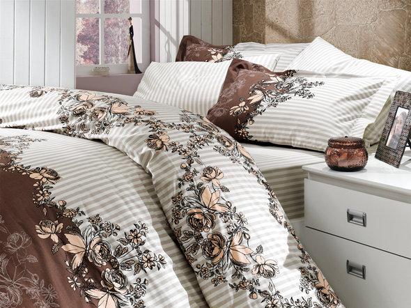 Комплект постельного белья Hobby DELFINA поплин коричневый евро, фото, фотография
