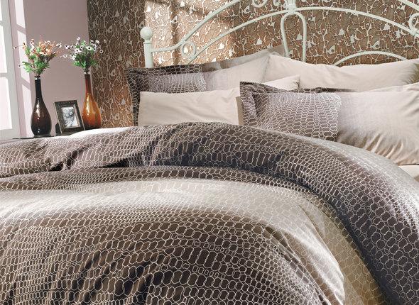 Комплект постельного белья Hobby ESTELA поплин коричневый 2-х спальный, фото, фотография