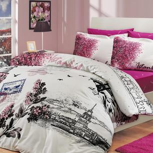 Постельное белье Hobby Home Collection ISTANBUL PANAROMA хлопковый поплин розовый семейный
