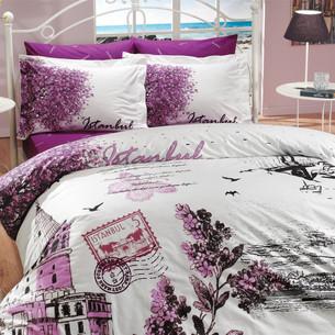 Постельное белье Hobby Home Collection ISTANBUL PANAROMA хлопковый поплин фиолетовый 1,5 спальный