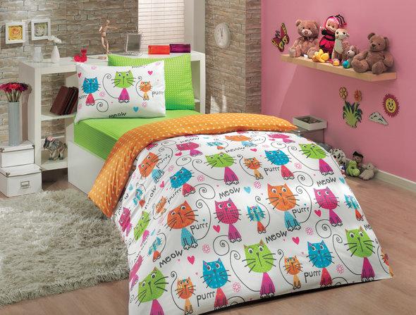 Комплект детского постельного белья Hobby MEOW поплин оранжевый 1,5 спальный, фото, фотография
