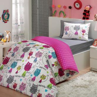 Комплект детского постельного белья Hobby Home Collection MEOW хлопковый поплин (фуксия)