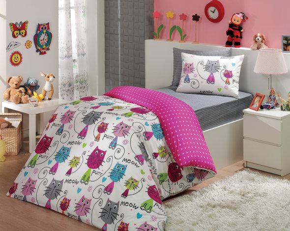 Комплект детского постельного белья Hobby MEOW поплин фуксия 1,5 спальный, фото, фотография