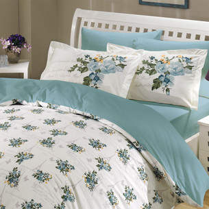 Постельное белье Hobby Home Collection PARIS SPRING хлопковый поплин бирюзовый 1,5 спальный