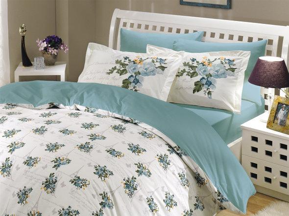 Комплект постельного белья Hobby PARIS SPRING поплин бирюзовый 2-х спальный, фото, фотография