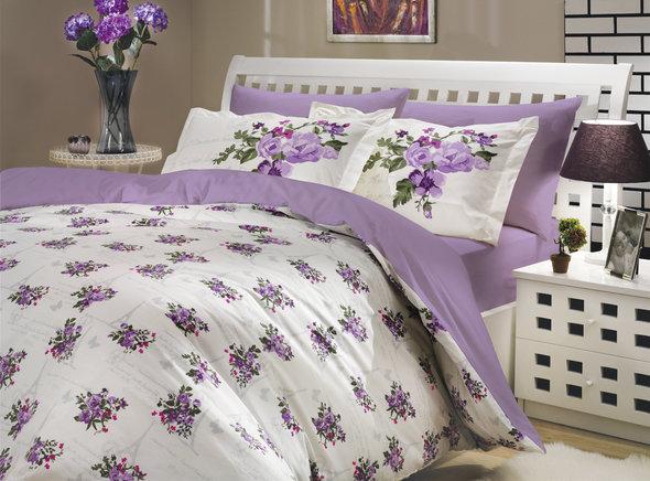 Комплект постельного белья Hobby PARIS SPRING поплин лиловый семейный, фото, фотография