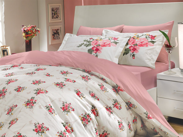 Комплект постельного белья Hobby PARIS SPRING поплин розовый семейный, фото, фотография