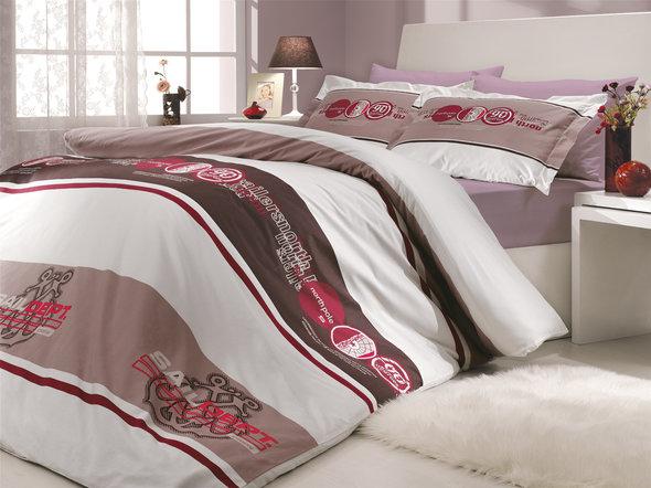 Постельное белье Hobby Home Collection ROTA хлопковый поплин (бордовый) 2-х спальный, фото, фотография