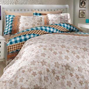 Постельное белье Hobby Home Collection SERENA хлопковый поплин синий 1,5 спальный