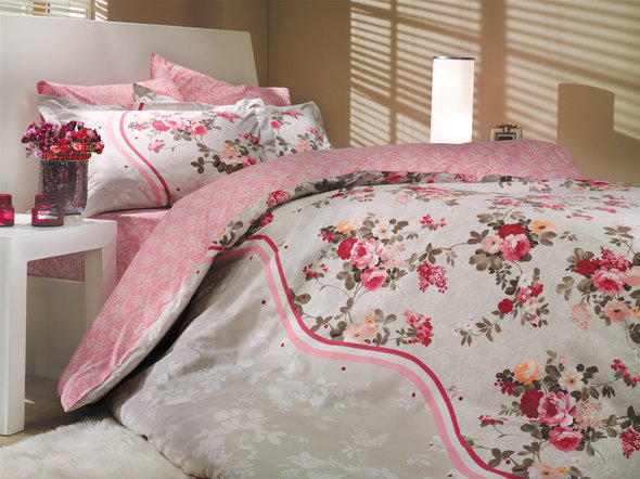 Постельное белье Hobby Home Collection SUSANA хлопковый поплин розовый 2-х спальный, фото, фотография