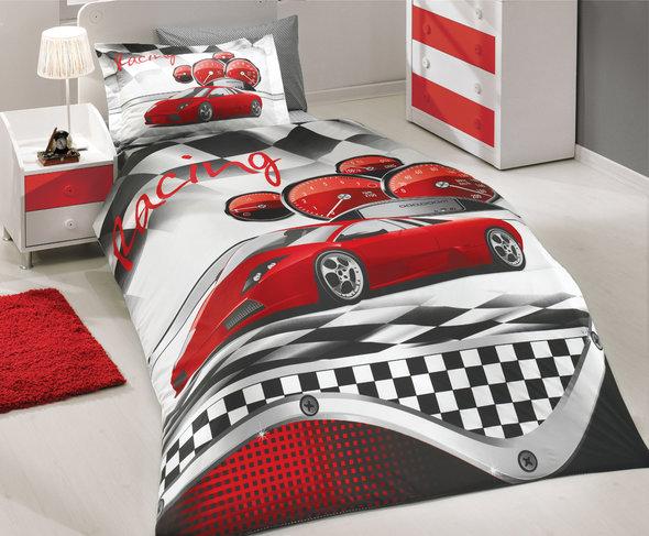 Комплект детского постельного белья Hobby X-RACING поплин красный 1,5 спальный, фото, фотография