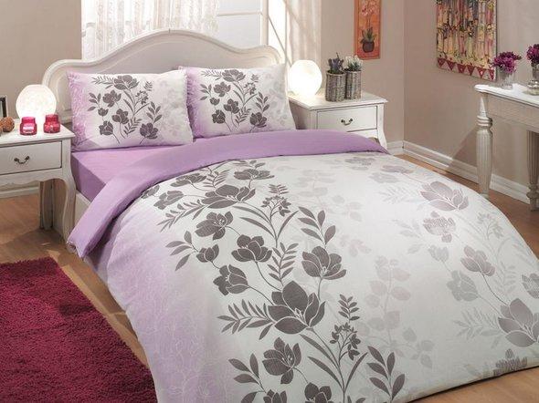Комплект постельного белья Hobby FLORE ранфорс лиловый евро, фото, фотография