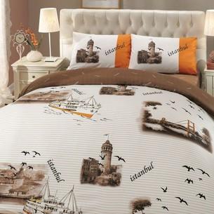 Постельное белье Hobby Home Collection ISTANBUL хлопковый ранфорс коричневый 1,5 спальный