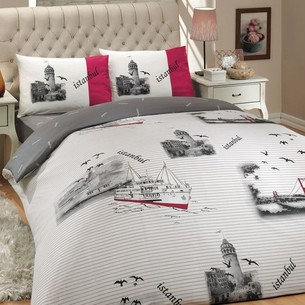 Постельное белье Hobby Home Collection ISTANBUL хлопковый ранфорс серый евро