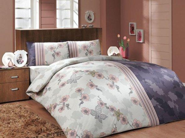 Комплект постельного белья Hobby LIANA ранфорс фиолетовый евро, фото, фотография