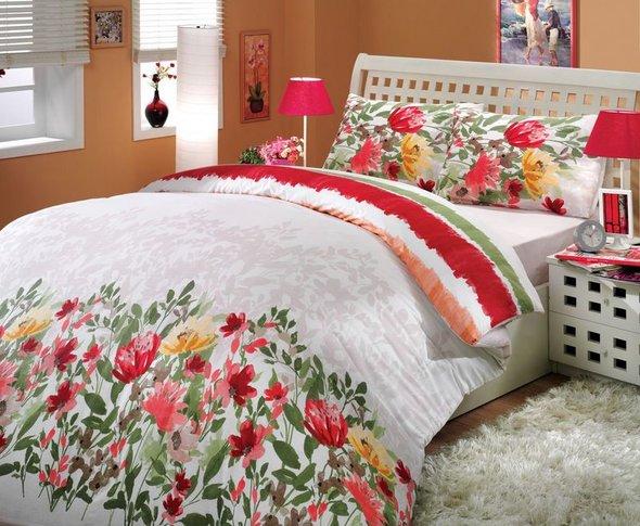 Постельное белье Hobby Home Collection LILIAN хлопковый ранфорс (красный) 2-х спальный, фото, фотография