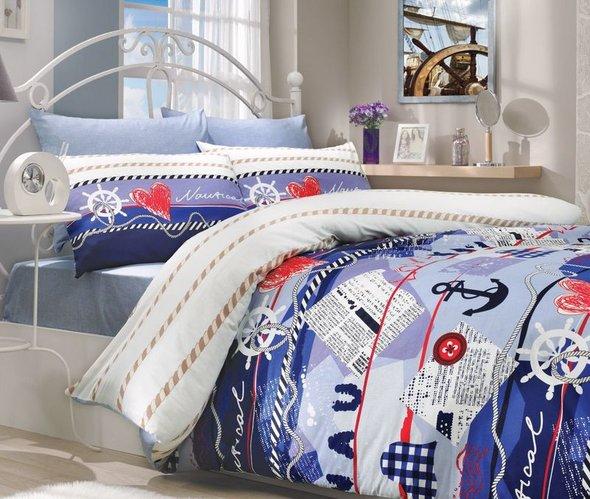 Комплект постельного белья Hobby MARINE ранфорс синий 1,5 спальный, фото, фотография