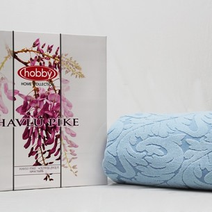 Махровая простынь-покрывало для укрывания Hobby Home Collection SULTAN хлопок голубой 160х200