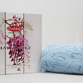 Махровая простынь-покрывало для укрывания Hobby Home Collection SULTAN хлопок голубой