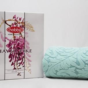 Махровая простынь-покрывало для укрывания Hobby Home Collection SULTAN хлопок мятный 200х220