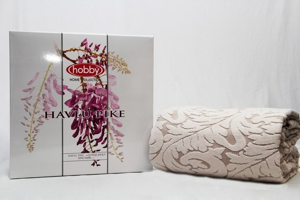 Махровая простынь-покрывало для укрывания Hobby Home Collection SULTAN хлопок (кремовый) 160*200, фото, фотография