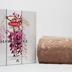 Махровая простынь-покрывало для укрывания Hobby Home Collection SULTAN хлопок бежевый 200х220