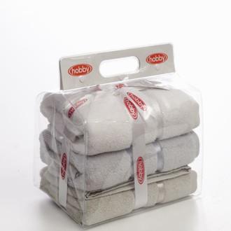 Подарочный набор полотенец для ванной Hobby Home Collection DOLCE хлопковый микрокоттон (белый, светло-голубой, светло-коричневый)