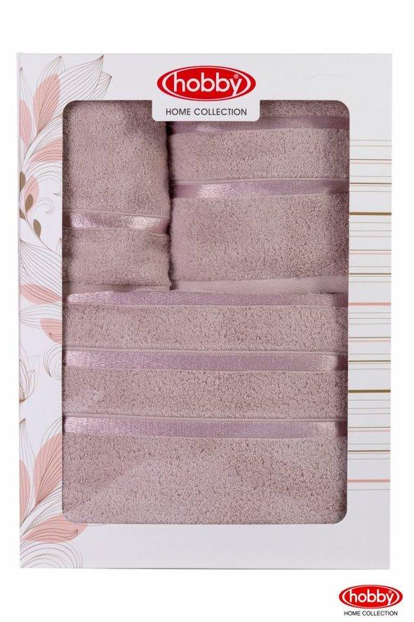 Подарочный набор полотенец для ванной Hobby Home Collection DOLCE хлопковый микрокоттон 3 пр. (светло-лиловый), фото, фотография
