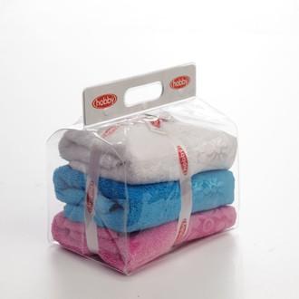 Подарочный набор полотенец для ванной 3пр. Hobby Home Collection DORA хлопковая махра белый, розовый, бирюзовый