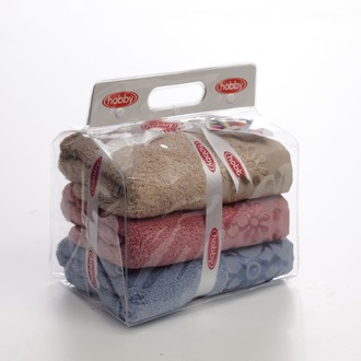 Подарочный набор полотенец для ванной 3пр. Hobby Home Collection DORA хлопковая махра (голубой, бежевый, розовый)