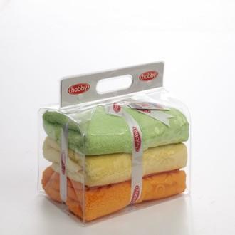 Подарочный набор полотенец для ванной 3пр. Hobby Home Collection DORA хлопковая махра (жёлтый, оранжевый, зелёный)