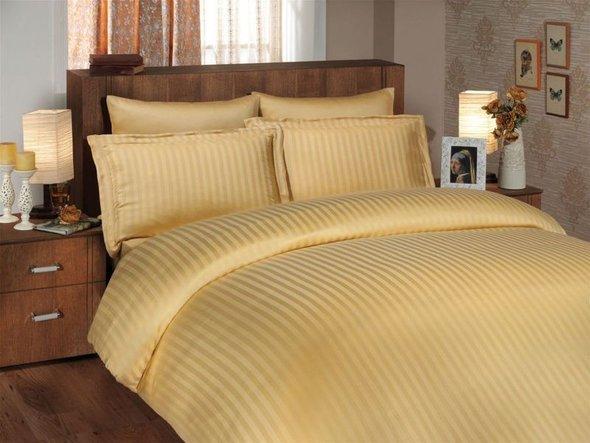 Комплект постельного белья Hobby DIAMOND STRIPE золотой евро, фото, фотография