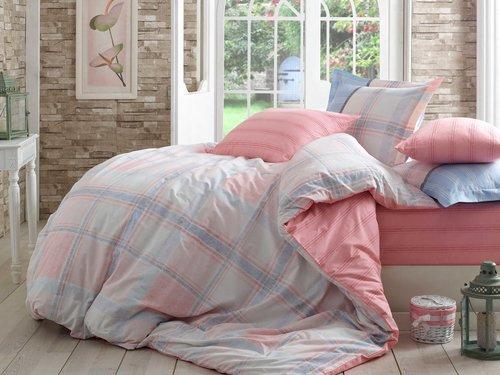 Постельное белье Hobby Home Collection CARMELA хлопковый поплин розовый евро, фото, фотография