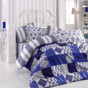 Постельное белье Hobby Home Collection CLARA хлопковый поплин синий семейный